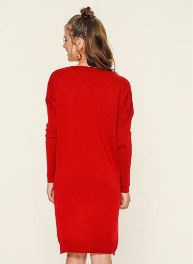 Loves You Cepli Triko Tunik Elbise Kırmızı